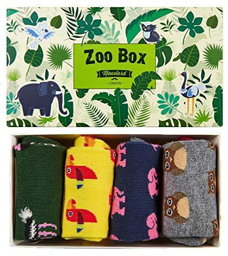 (4 pack) Fun Animal Socks Gift Pack for Men and Women - Crazy Funky Novelty Zoo Crew Socks - Premium Cotton