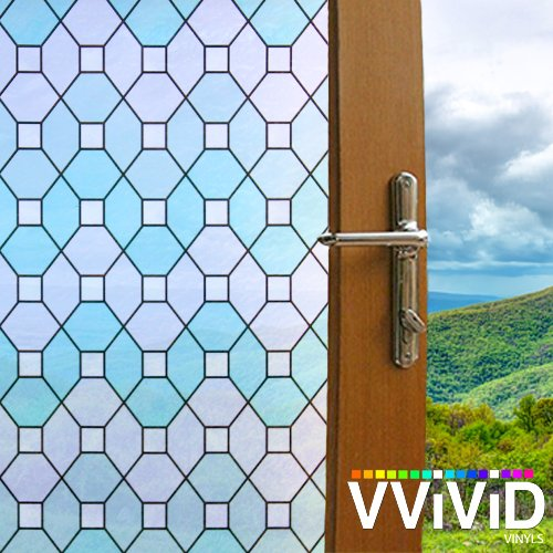 Geometric Emerald Stained Glass Static Cling Privacy Film Decorative Window Vinyl Decal for Bathroom, Kitchen, Home, Office Easy DIY Adhesive-Free (17.75