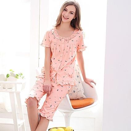 Pijamas rosa servicio de casa de dibujos animados conjunto de algodón de primavera y
