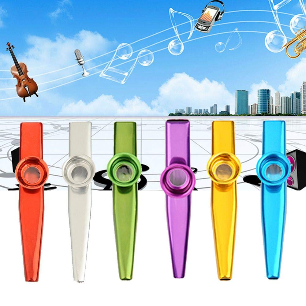 6 Pack Metal Kazoo Musical Instruments, Genenic Ultralight Assorted Kazoos Musical Instruments Party Favors with Kazoo Flute Diaphragms for Guitar Ukulele Violin and Keyboard Good, Gift for Kids Music L