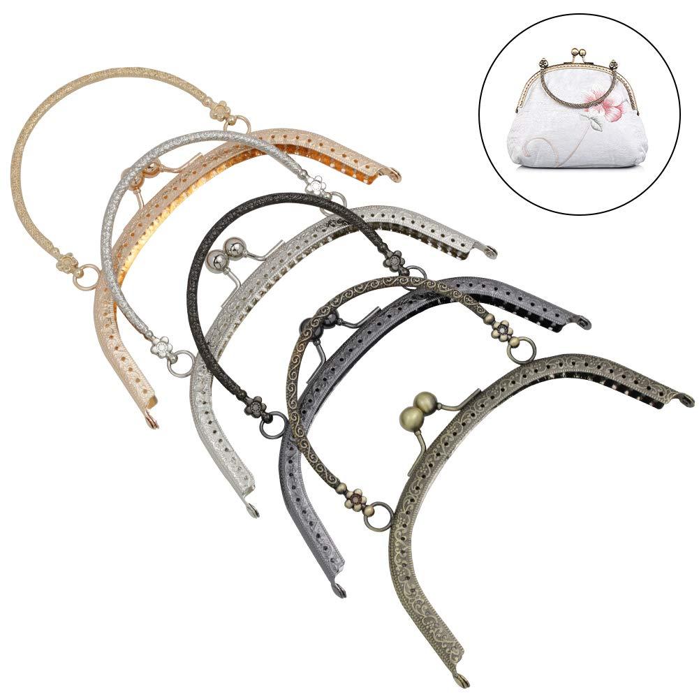 Guo Fa 8pcs kiss-Clasp-Lock Retro Metal Purse DIY Bag Frames Flower Square Arts Crafts Sewing for Women Girl 6.5inch Bronze Gun Black Light Gold Silver (Multicolor, 6.5inch) by Guo Fa
