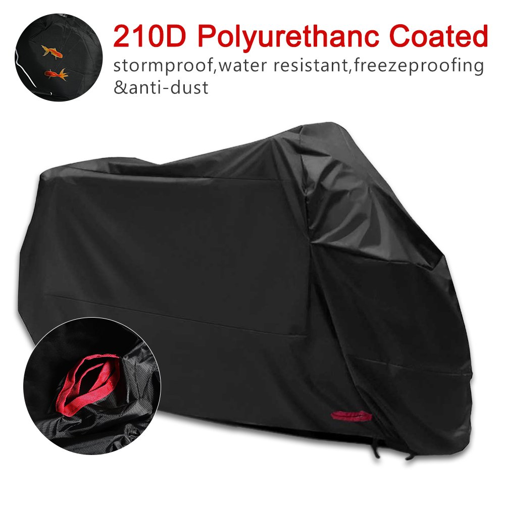Motorbike Cover 210D Oxford Fabric Motorcycle Cover Waterproof UV Protective Cover with anti-theft fabric holes (245*125*105 CM) MEIKONG