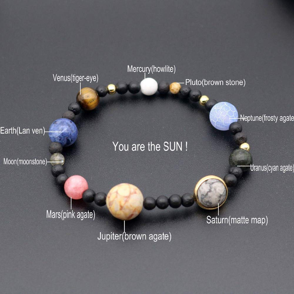 USHOT Galaxy Bracelet, Men Women Natural Stone Milky Way Beads Yoga Bracelet Bangle