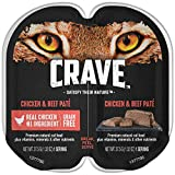 Crave Grain Free Adult High Protein Wet Cat Food Paté Chicken & Beef, (24) 2.6 Oz. Twin-Pack Trays