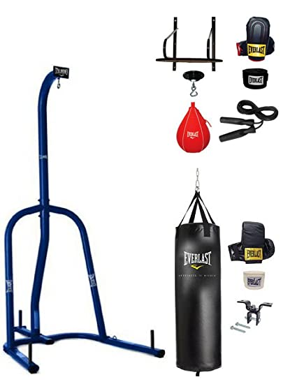 080f6ab094b Amazon.com   Everlast Single-Station Heavy Bag Stand in Blue Finish with 70  lbs. Heavy Bag Kit and 6-Piece Speed Bag Kit BUNDLE SET!   Sports   Outdoors