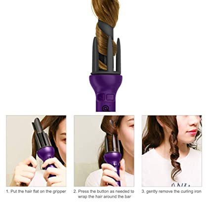 Amazon.com: QiMH Automatic Professional Hair Curler, Pearl Diamond Ceramic 1.1 Inch Barrel Auto Hair Curling Iron Wand with 360 Rotating Roller, ...