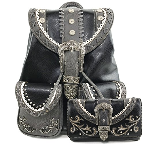 Wallets Womens Western - Justin West Trendy Western Rhinestone Leather Conceal Carry Top Handle Backpack Purse (Western Black Backpack Wallet Set)