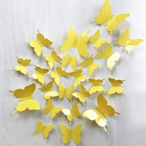 V-Time 3D Yellow Butterfly Wall Stickers Yellow 24 pcs Removable Mural Stickers Wall Stickers Decal for Home and Room Decoration Kids Room Bedroom Decor Living Room Sticker (Yellow)