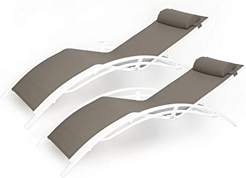 Kozyard KozyLounge Elegant Patio Reclining Adjustable Chaise Lounge Aluminum and Textilene Sunbathing Chair for All Weather with headrest 2 Pack , KD,Very Light, Taupe