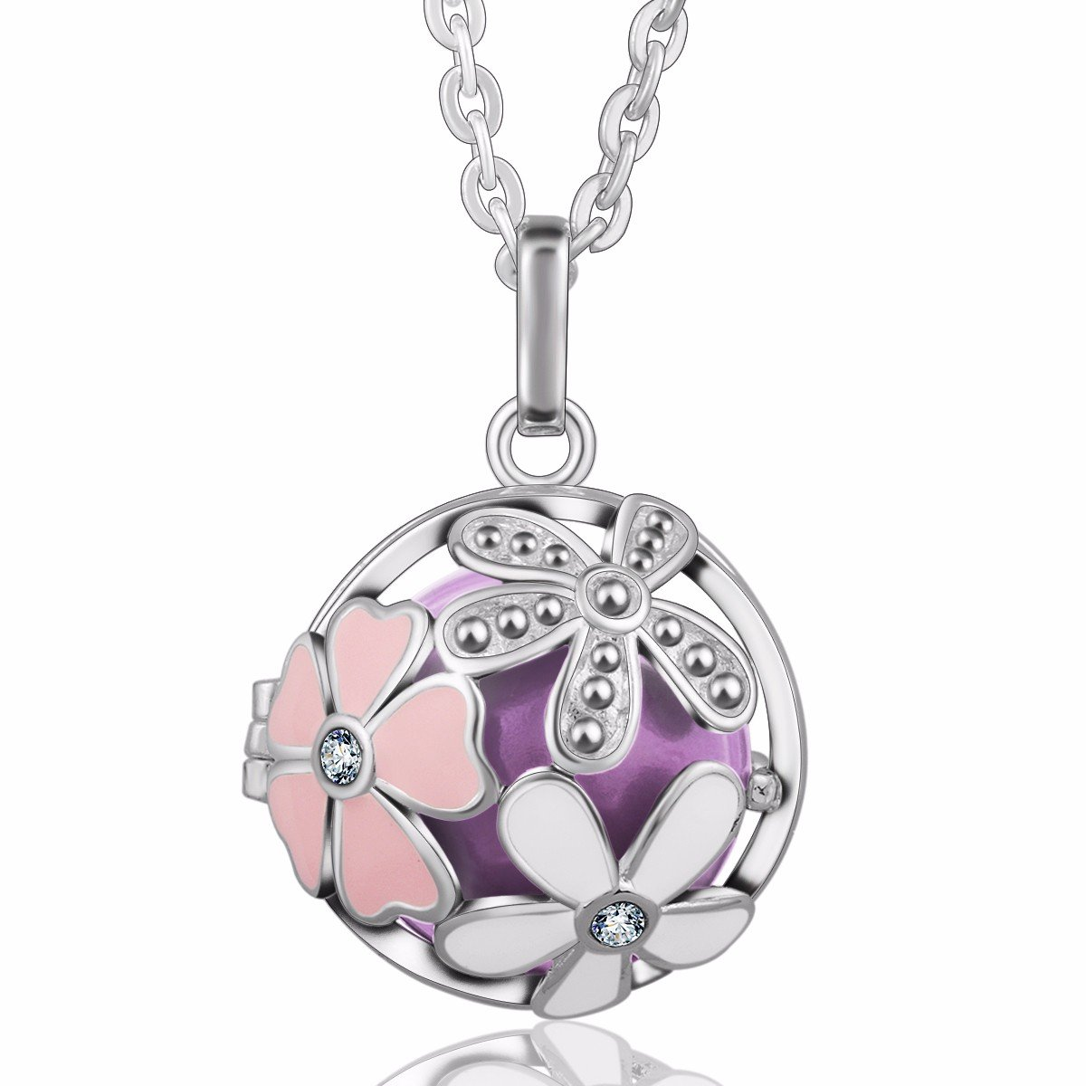 Eudora Harmony Bola Summer Flower 20mm Musical Chime Pendant 30 inches Necklace Prayer Ball
