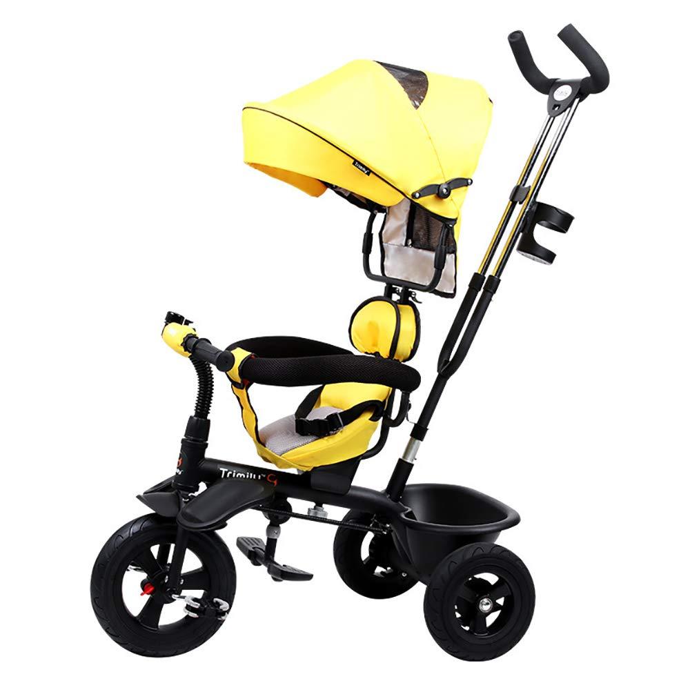 Gelb SSLC Trike Dreirad Fahrrad Baby Dreirad 4 in 1 Kinderdreirad Flüsterleise Rad Abnehmbarer Sonnendach lenkbarer Schubstange verstellbare Fußablage Dreirad für Kinder Belastbarkeit bis 30 kg