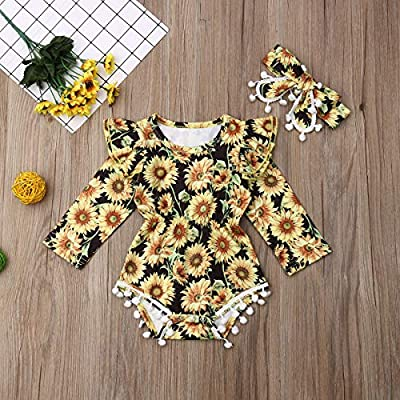 Newborn Baby Girl Sunflower Clothes Ruffle Sleeve Romper Bodysuit Spliced Jumpsuit Overalls Outfits with Headband Set