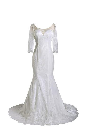 Amazon 99gown Wedding Dresses Mermaid Lace Long Sleeve Vintage