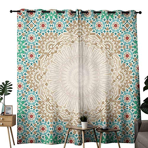 duommhome Moroccan Thermal Curtains Ottoman Mosaic Art Pattern with Oriental Floral Forms Antique Scroll Ceramic Boho Print 70%-80% Light Shading, 2 Panels,W72 x L108 Multi