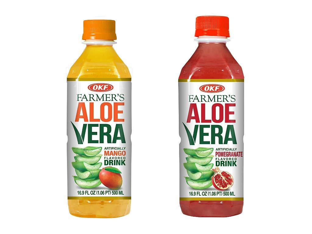 OKF Farmer's Aloe Vera Drink, Mango and Pomegranate, 16.9 Fluid Ounce (Pack of 20 each)
