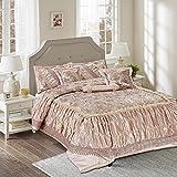 Tache Home Fashion 6 PC Beige Roses Sequin Ruffled Faux Satin Comforter Set, King