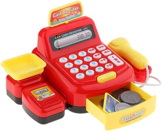 Caja Registradora Juguete con Lector y Juguete Comestibles para Niños Falso Juego Supermercado Tienda Juguetes Rojo 18 x 9 x 12.5cm: Amazon.es: Hogar