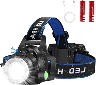 T6 LED Headlight Telescope Zoomable Rechargeable Headlamp Torch w// Battery