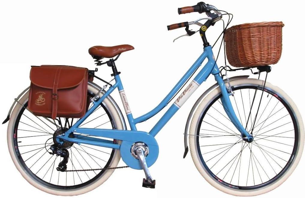 Via Veneto Bicicleta Clasica de Paseo - Retro Alu Donna, Azzurro ...