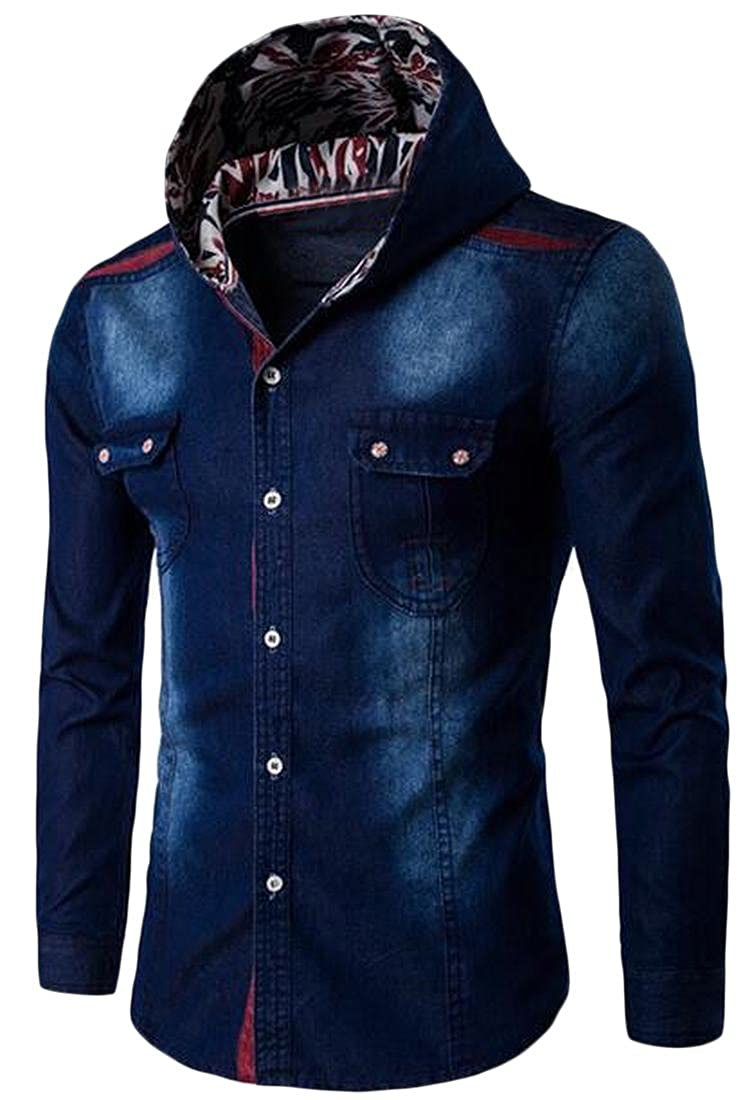 Honey GD Mens Casual Patched Hooded Long Sleeve Denim Shirt
