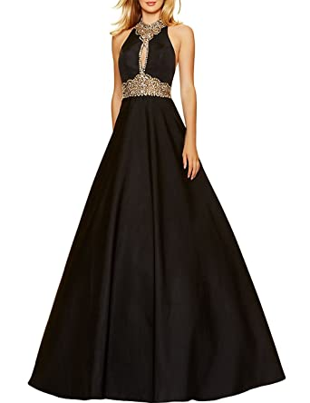 Prom Dresses High Neck Satin with Rhinestones Beaded Long Black Party Dress A-Line at Amazon Womens Clothing store: