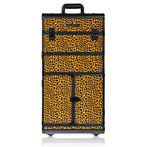 SHANY REBEL Series Pro Makeup Artists Rolling Train Case - Trolley Case - Spring Cheetah]()