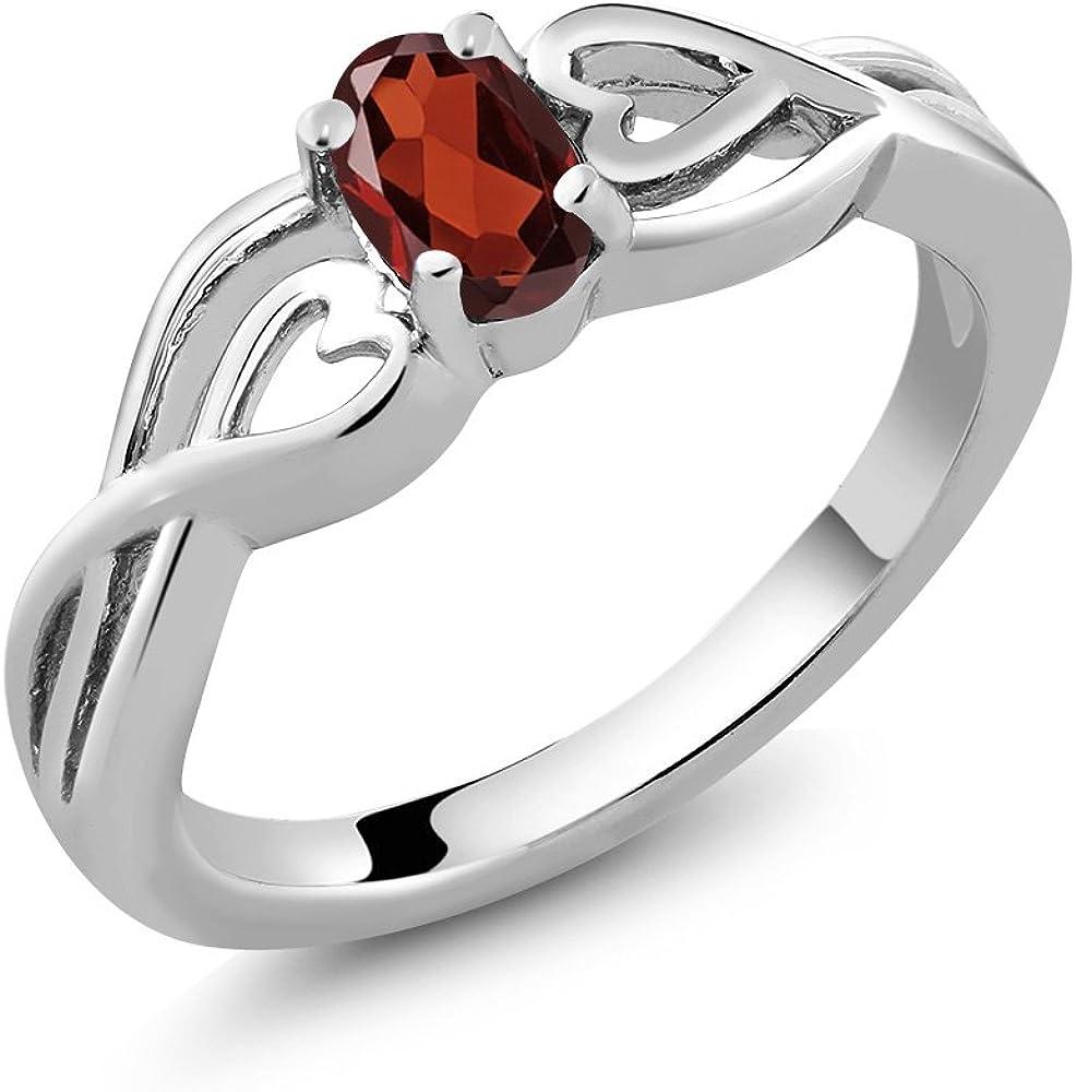 Sterling Silver Oval Red Garnet Gemstone Birthstone Women's Ring