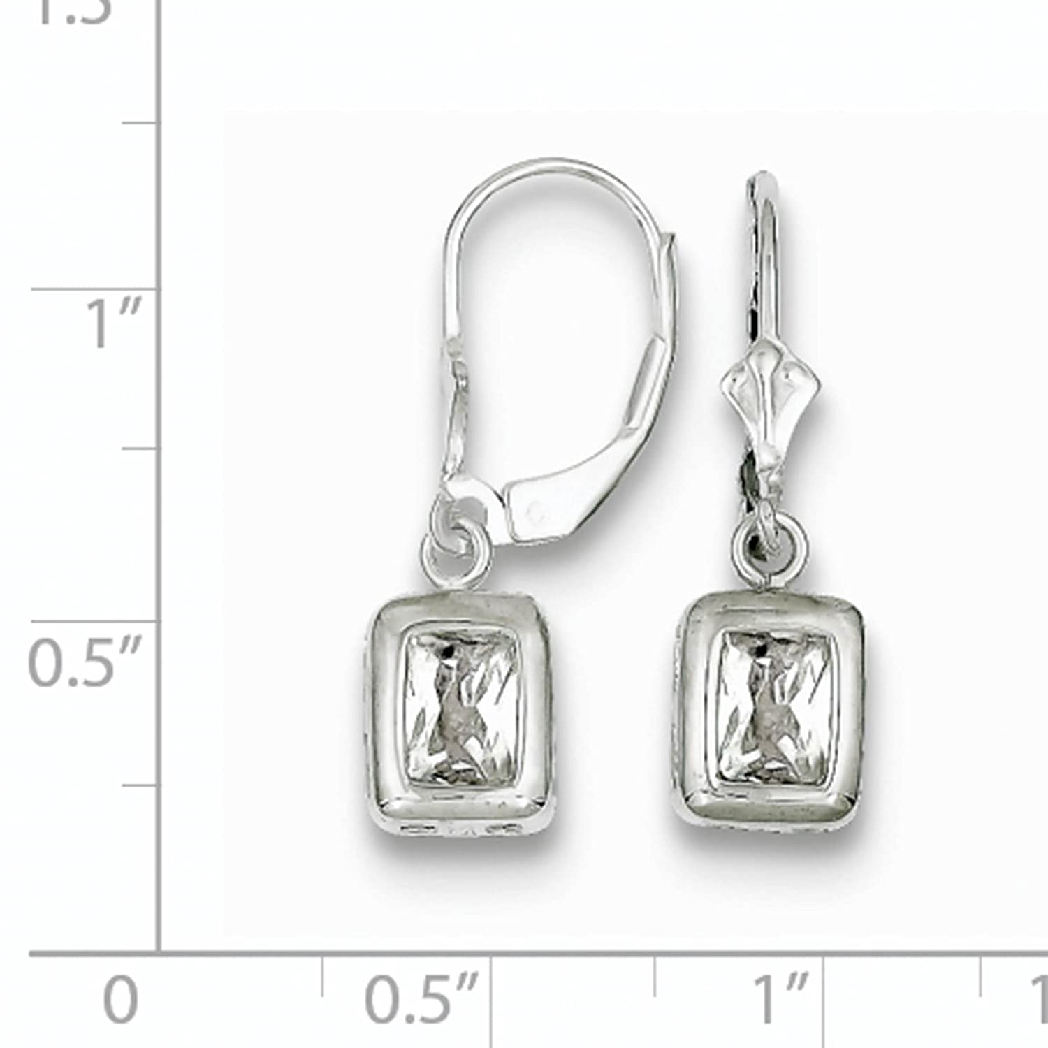 925 Sterling Silver Rhodium-plated 7x5mm Rectangle CZ Leverback Dangle Earrings