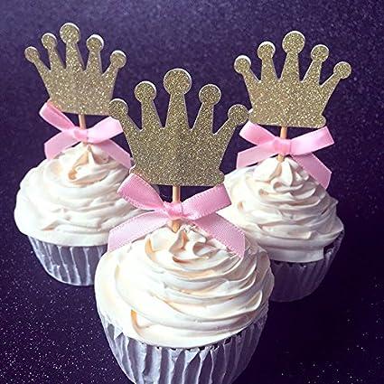 Amazon.com: Lazo rosa color & Corona Cupcake Toppers púas ...
