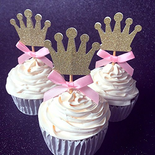 Tinkerbell Glitter Tattoo Kit (HOT Birthday Decorations -Pink Bow & Gold Glitter Crown Cupcake Toppers - Crown Cupcake Toppers, First Birthday Cupcake Toppers)