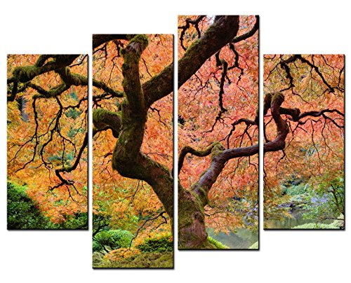 Smartwallart   Natural Landscape Paintings Wall Art Japanese Maple Tree In Autumn 4 Panel Picture Print On Canvas For Modern Home Decoration