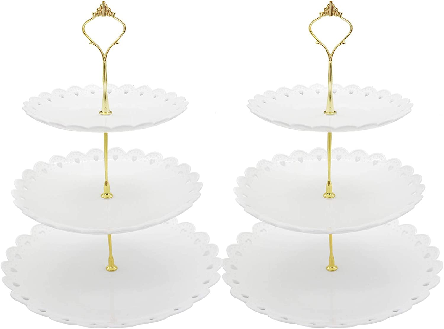 2 Set of 3-Tier Cupcake Stand Fruit Plate Cakes Desserts Fruits Snack Candy Buffet Display Tower Plastic White for Wedding Home Birthday Tea Party Serving Platter (White)