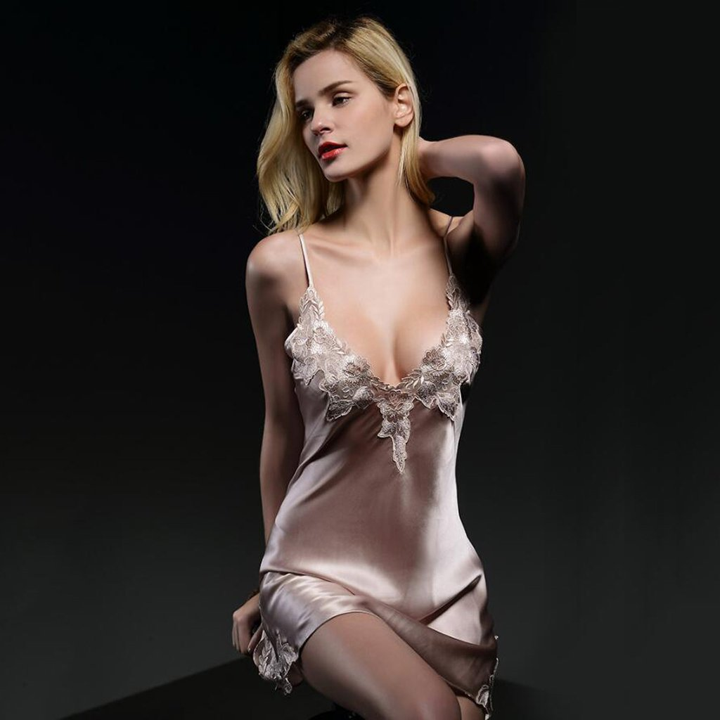 GAODUZI 新しいセクシーなシルクパジャマスカート女性の夏のレースストラップシルクナイトドレス100%桑のシルクのドレス B07F2Z6ZRQ Medium|Pale pink Pale pink Medium