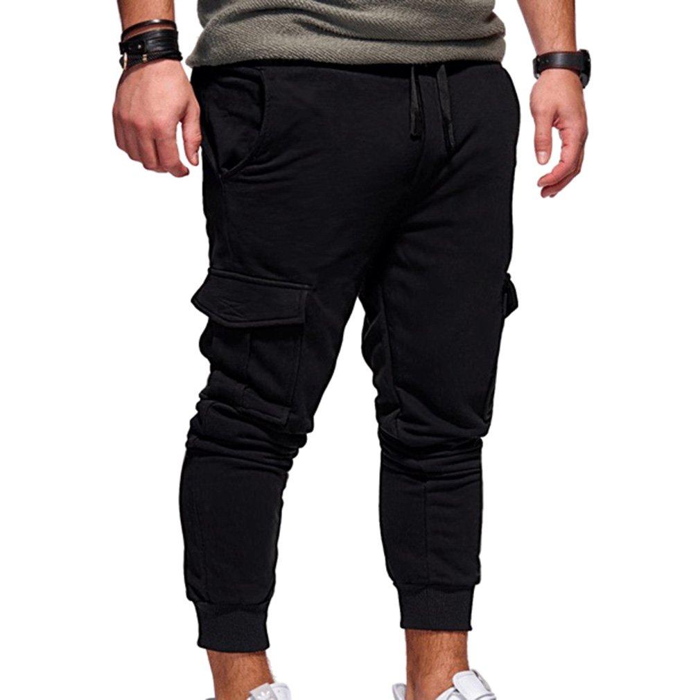 fuxin Uomo tasca Piccoli piedi sportivo pantaloni in vita Vita elastica coulisse Tinta unita tempo libero pantaloni fitness sportivo pantaloni M-4XL