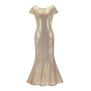 275bff1d9a5 ANONE LADIES ELEGANT BLING SEQUINS SHORT SLEEVE BACKLESS LONG MAXI EVENING  PROM DRESS Gold