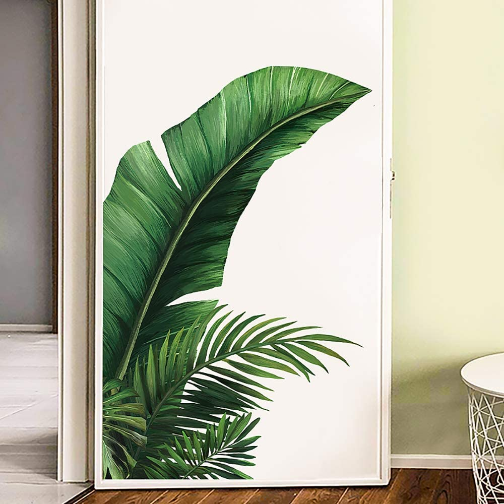 AAPBB Flower Wall Stickers Green Leaf Wall Decor Murals Art Decals Peel and Stick Removable Mirror 3D for Living Room Bedroom Bathrooom Playroom Nursery Room Office Home Decoration