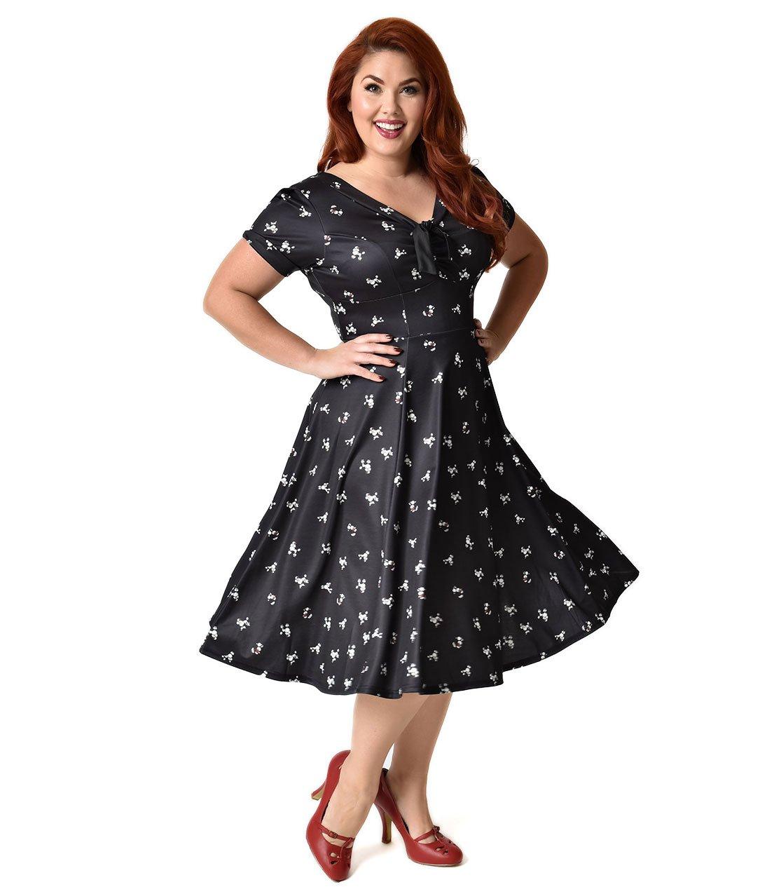 Unique Vintage Plus Size 1940s Style Black Poodle Parade Knit Short Sleeve Natalie Swing Dress