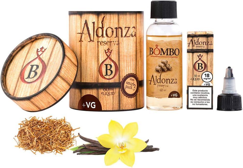 E-liquid BOMBO ALDONZA + VG 60ML – equilibrada mezcla de tabacos selectos y las mejores vainillas maceradas en barrica de roble americano, TPD,para Cigarrillos Electrónicos,sin nicotina.