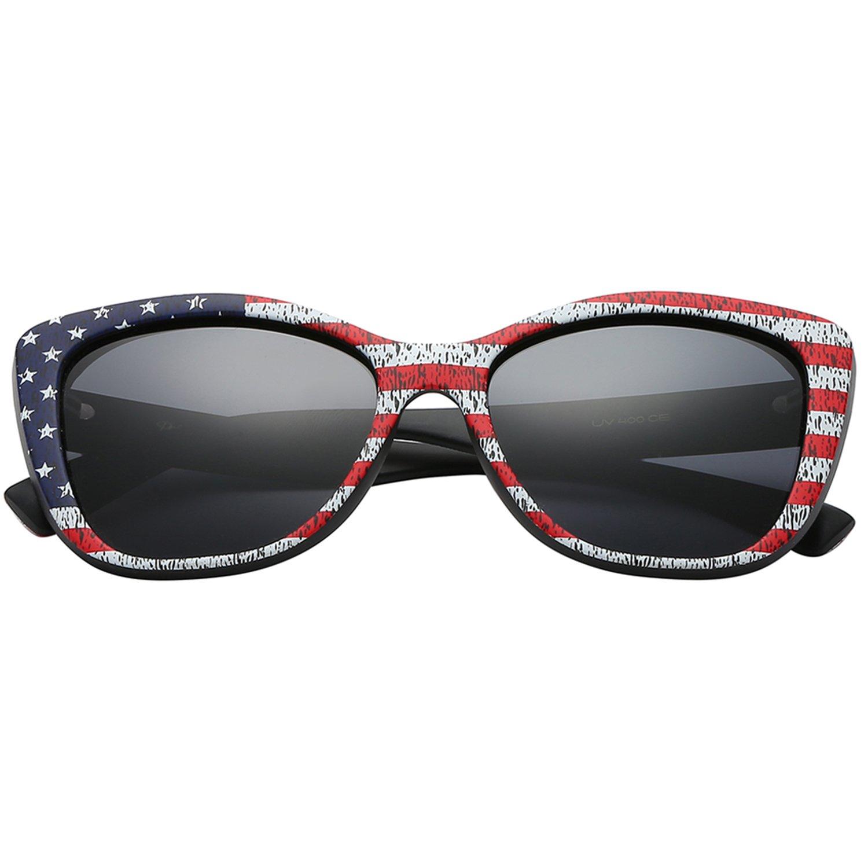 82f2cb7b4df7d Amazon.com  Polarspex Polarized Women s Oversized Square Jackie O Cat Eye  Fashion Sunglasses (American Flag
