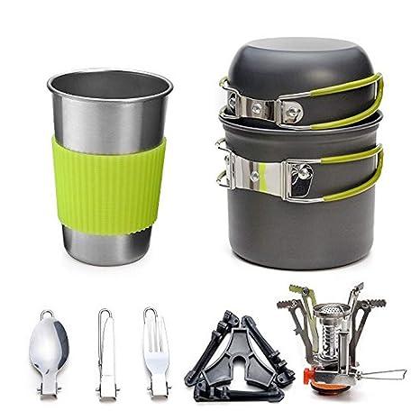 Estufa portátil de gas para acampar, Juego de utensilios de cocina al aire libre 1-2 ...