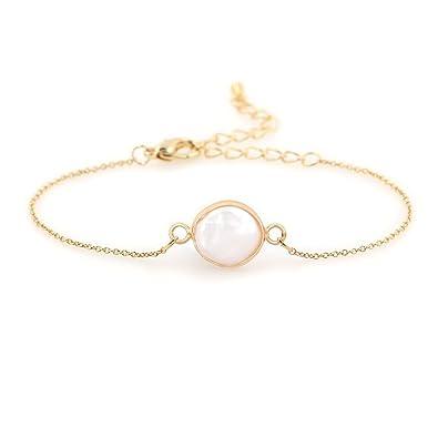 1accba274 COZLANE 14K Gold Simple Natural Pearl Shell Bracelet for Women Gift Pack