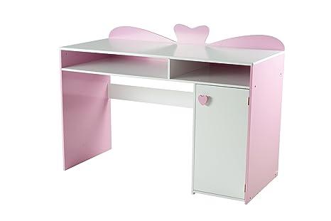 My note deco loli bureau chambre fille rose et blanc panneaux mdf