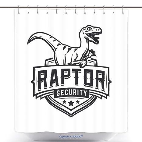 Diseño moderno Logo de ducha cortinas Raptor Sport Mascot Vintage College equipo escudo de armas militares