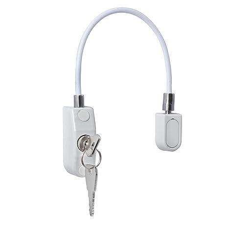 Seatecks Restrictor de ventana Cerraduras 4PCS Restrictor de puerta de ventana para ni/ños Bloqueo de seguridad para beb/és y ni/ños Cable con tornillos Llaves blancas