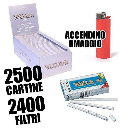 10 opinioni per Rizla 2500 Cartine Corte Silver Doppie- 2400 Filtri Ultraslim 5,7- Accendino