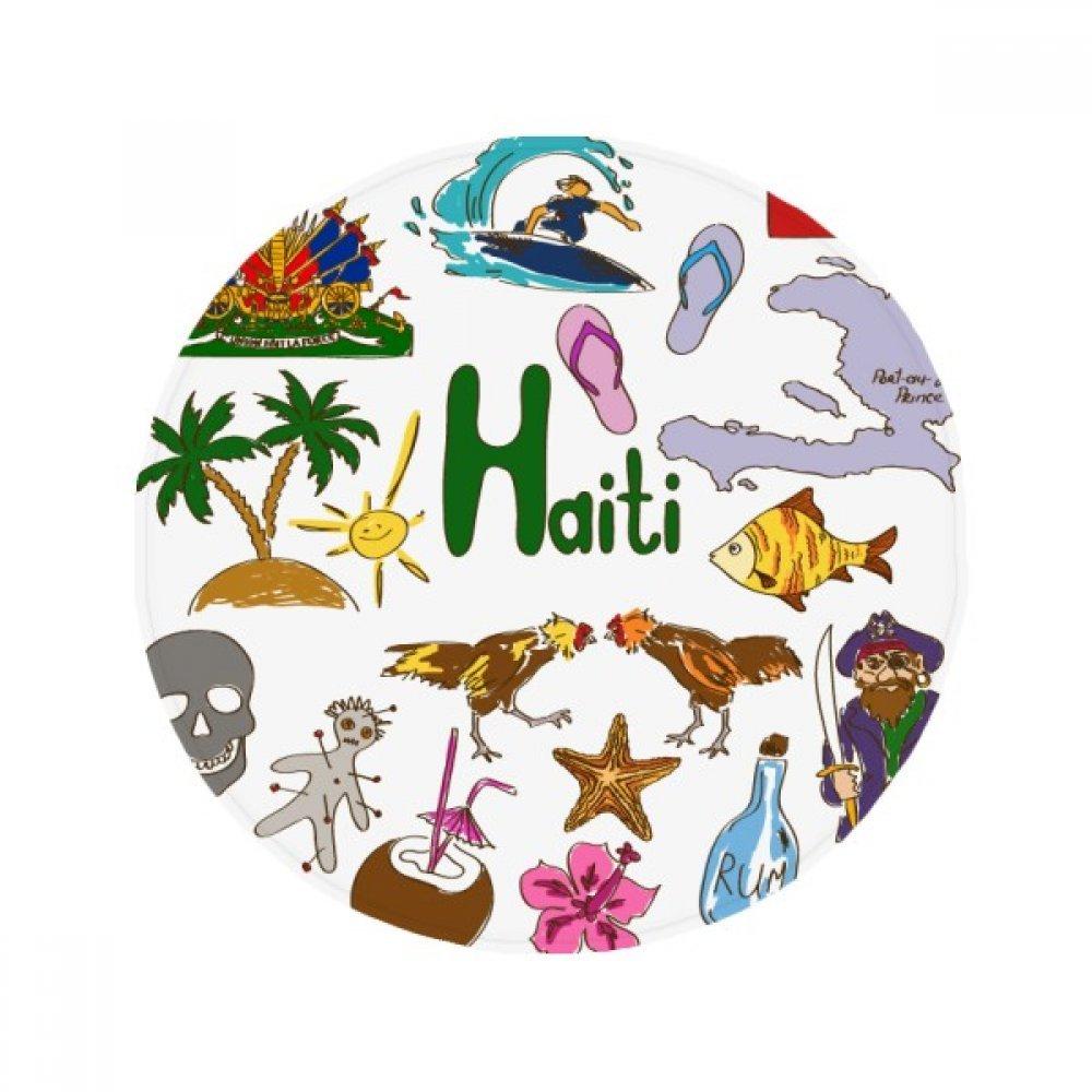 60X60cm DIYthinker Haiti Landscap Animals National Flag Anti-Slip Floor Pet Mat Round Bathroom Living Room Kitchen Door 60 50Cm Gift