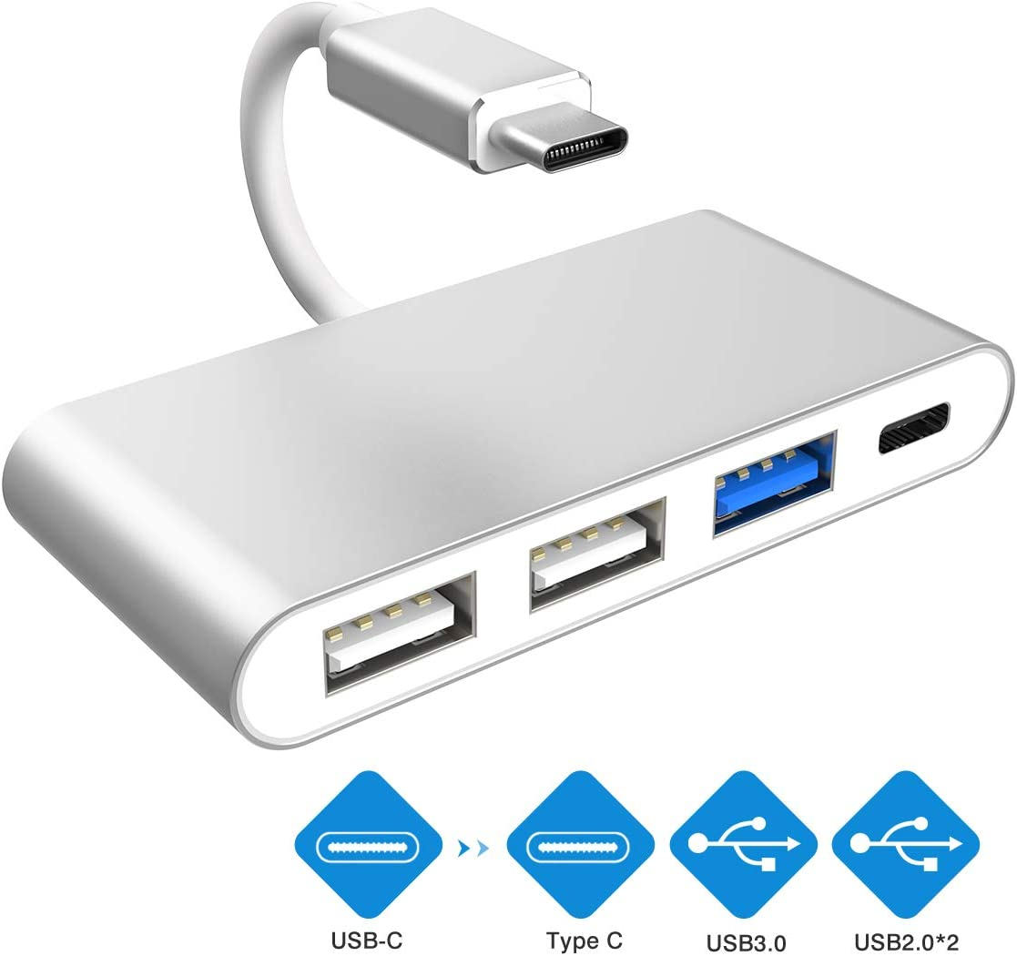 Type C Female Power Delivery Port USB Type C Adapter with USB3.0 Multi-Port USB C to USB OTG Data Adapter for MacBook Pro//ChromeBook Pixel//Dell XPS and More 2 USB2.0 USB C Hub