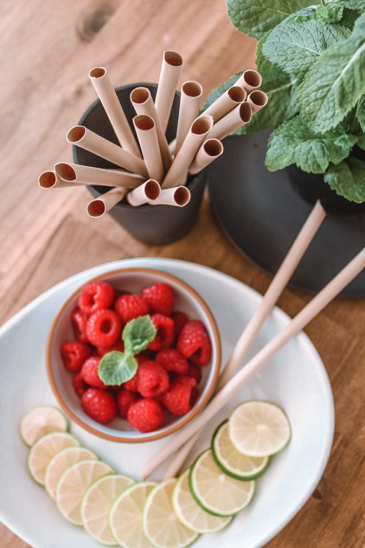 pandoo 50 pailles jetables en Bambou et Fibres v/ég/étales 100/% biod/égradables Pailles compostables Super Alternative aux pailles en Plastique