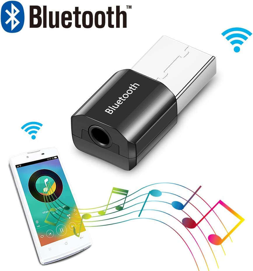 ShangSky - Adaptador USB con Bluetooth para Auriculares y Ratones (convertidor de Audio, Adaptador 4.0 Dongle Stick) Negro Negro 0,30 * 14 * 8,5 mm