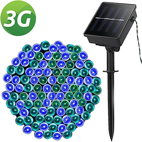 Solar String Lights, Outdoor String Lights, Lellel 3rd Gen Super Bright LED Lights String , Great for Yard Patio Garden Tree Party Wedding Decoration, Blue&Green with 8 Working Modes (Sale Mantle Headboards For)